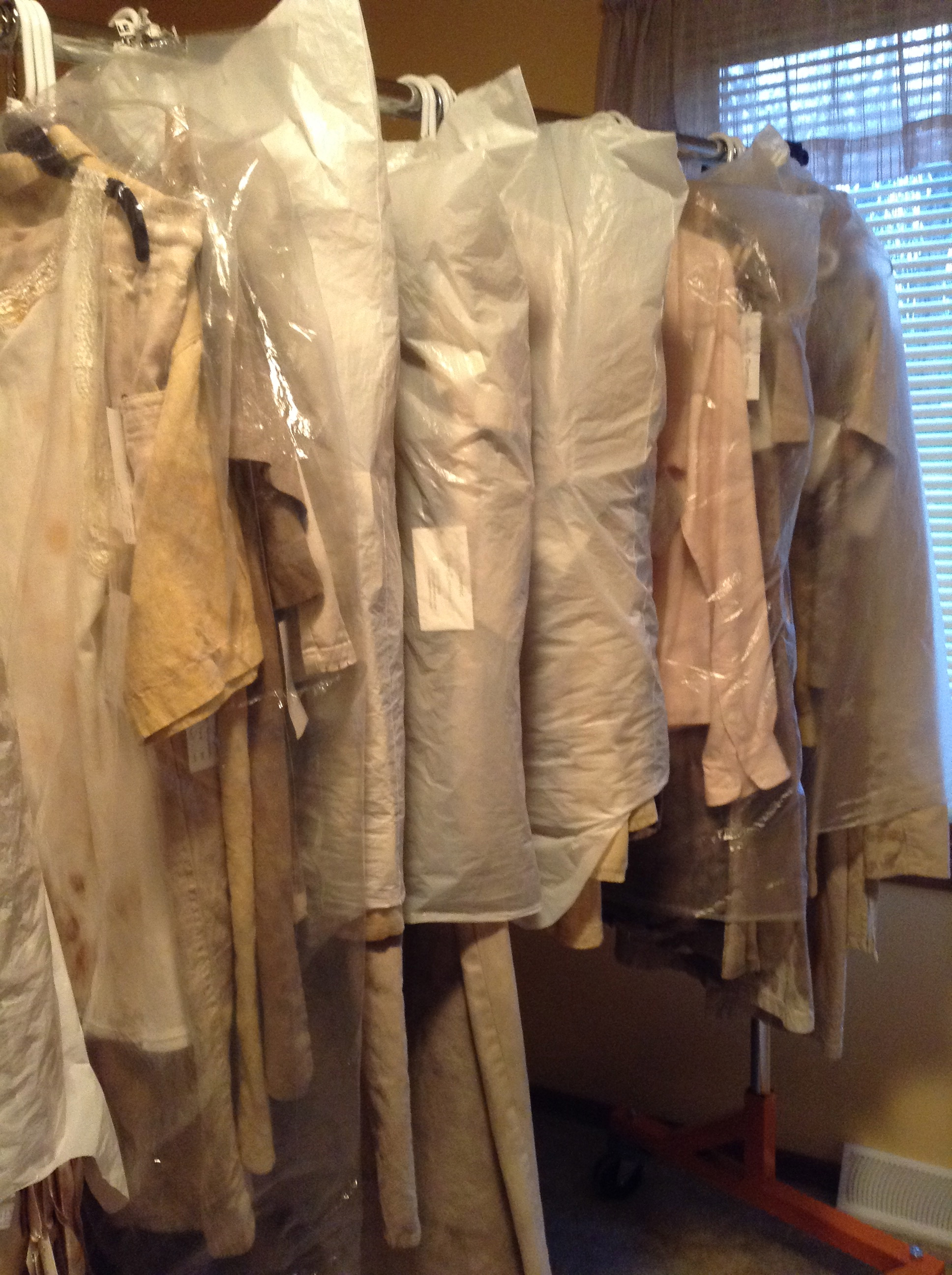 Rack of naturally dyed clothing ready for Wildfloer Show.